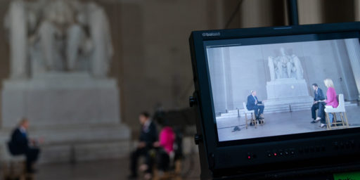 President Donald J. Trump participates in a FOX News Channel virtual town hall entitled America Together: Returning to Work, with co-moderators Bret Baier and Martha MacCallum live from the Lincoln Memorial Sunday, May 3, 2020, in Washington, D.C. (Official White House Photo by Shealah Craighead)