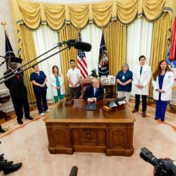 President Donald J. Trump and Vice President Mike Pence are joined by health care and nursing association representatives, from left to right-Dr. Ernest Grant, Lisa Barlow, Caroline Few Elliot, Luke Adams, Marty Blankenship, Allen Zelno, Sophia Thomas and Maria Arvonio, listening to a reporter's question after the signing of a proclamation in honor of National Nurses Day Wednesday, May 6, 2020, at the White House. (Official White House Photo by Andrea Hanks)