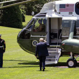 President Trump Departs for Florida President Donald J. Trump salutes as he boards Marine One on the South Lawn of White House en route to Joint Base Andrews Md. Saturday, May 30, 2020, for his trip to Cape Canaveral, Fla. (Official White House Photo by Joyce N. Boghosian)