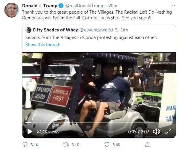 Trump promotes video of Florida supporters chanting