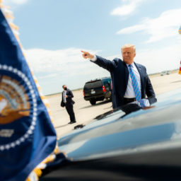 President Trump Travels to Texas President Donald J. Trump waves and gestures to the crowd upon his arrival to Midland International Air and Space Port in Midland, Texas, Wednesday, July 29, 2020, where he was greeted by Texas Gov. Greg Abbott, former Secretary of Energy Rick Perry, Texas Lt.Gov. Dan Patrick, Texas Republican Chairman Allen West, U.S. Representative candidates, and members of the community. (Official White House Photo by Shealah Craighead)