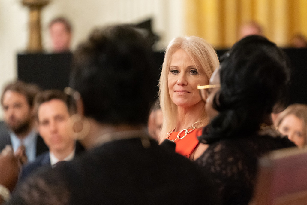 Counselor to the President Kellyanne Conway speaks with social media personalities and live-stream video bloggers Diamond and Silk (Lynette Hardaway and Rochelle Richardson) Thursday, July 11, 2019, during the Presidential Social Media Summit in the East Room of the White House. (Official White House Photo by Andrea Hanks)