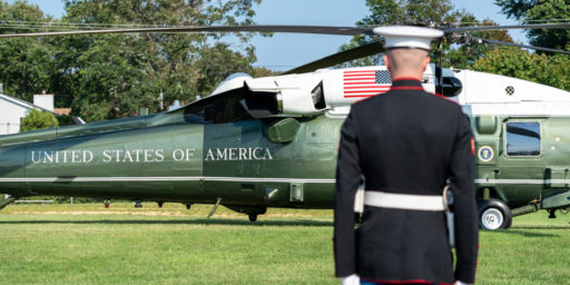 President Donald J. Trump disembarks Marine One Sunday Aug. 9, 2020, at the Elberon Park landing zone in Long Branch, N.J. (Official White House Photo by Shealah Craighead)
