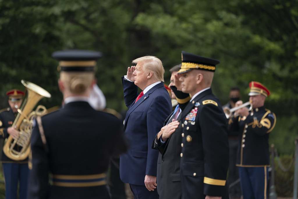 President Donald J. Trump, Vice President Mike Pence, Secretary of Defense Mark Esper and U.S. Army Gen. Omar Jones participate in the Memorial Day wreath-laying ceremony at the Tomb of the Unknown Soldier at Arlington National Cemetery Monday, May 25, 2020, in Arlington, Va. (Official White House Photo by Shealah Craighead)