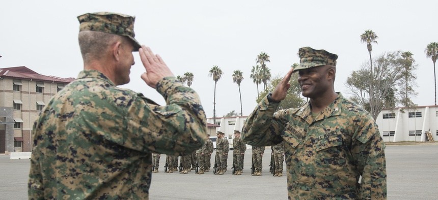 Col. Anthony Henderson, commanding officer 13th Marine Expeditionary Unit, receives the Legion of Merit award on Camp Pendleton, California, Dec. 15, 2016. U.S. MARINE CORPS / LANCE CPL. TYLER BYTHER