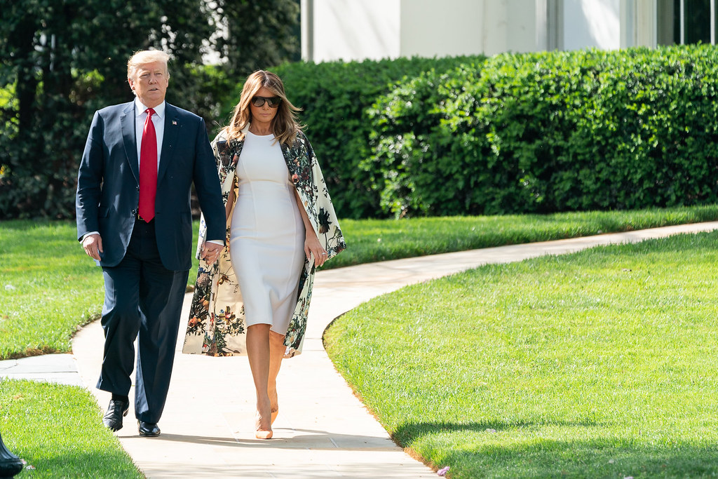 President Donald J. Trump and First Lady Melania Trump walk from the Oval Office to board Marine One Thursday, April 18, 2019, at the White House. (Official White House Photo by Andrea Hanks)