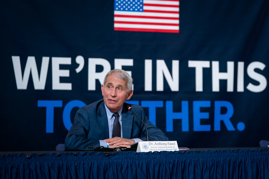 Dr. Anthony Fauci, Director of National Institute of Allergy and Infectious Diseases, addresses his remarks at a roundtable on donating plasma Thursday, July 30, 2020, at the American Red Cross-National Headquarters in Washington, D.C. (Official White House Photo by Tia Dufour)