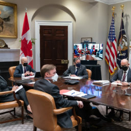 President Joe Biden and Vice President Kamala Harris participate in a virtual bilateral meeting with Canadian Prime Minister Justin Trudeau Tuesday, Feb. 23, 2021, in the Roosevelt Room of the White House. (Official White House Photo by Adam Schultz)