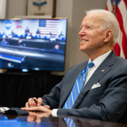 President Joe Biden participates in a virtual call with the NASA Mars 2020 Perseverance Mission team members Thursday, March 4, 2021, in the Roosevelt Room of the White House.