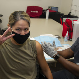 Major Kimberly Bender, Director Air Force Public Affairs , Joint Base San Antonio, Fort Sam Houston, receives the first of two COVID 19 vaccine shots, Brooke Army Medical Center, Joint Base San Antonio, Fort Sam Houston, Texas, 29 Jan 2021.