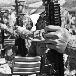 photo of person, suit, black and white, people, military, soldier, army, monochrome, weapon, camouflage, war, shooting, gun, bullets, dangerous, troop, afghanistan, combat, cartridge, monochrome photography, machine gun, militia, camouflage battledress, projectiles, battledress, camouflage
